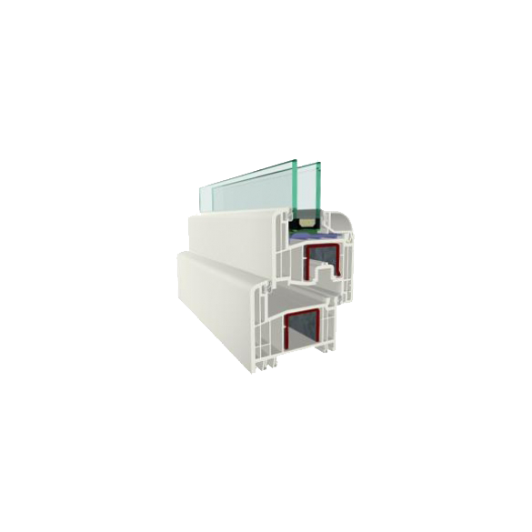 Váltószárnyas (középfelnyíló) ablak bukó-nyíló/nyíló szárnyakkal 1200x1200